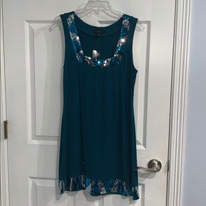 Express Multi Color Sequin Mini Party Green Dress